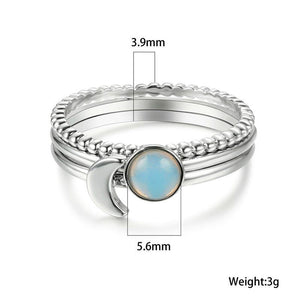 Faux Moonstone Stackable Ring Set