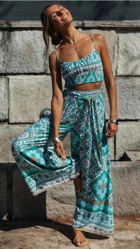 Floral Crop Top & Wide Leg Pants Set
