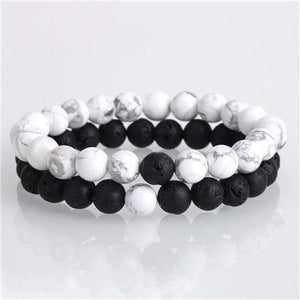 Yin Yang Natural Stone Couples/Friendship Bracelet Set