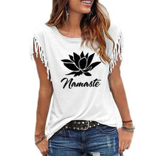 Load image into Gallery viewer, Namaste Lotus Fringe T Shirt