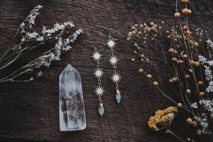Sun and Quartz Crystal Earrings