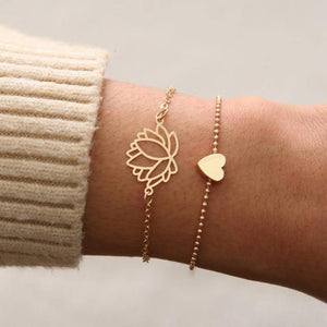 Lotus & Heart Bracelet Set