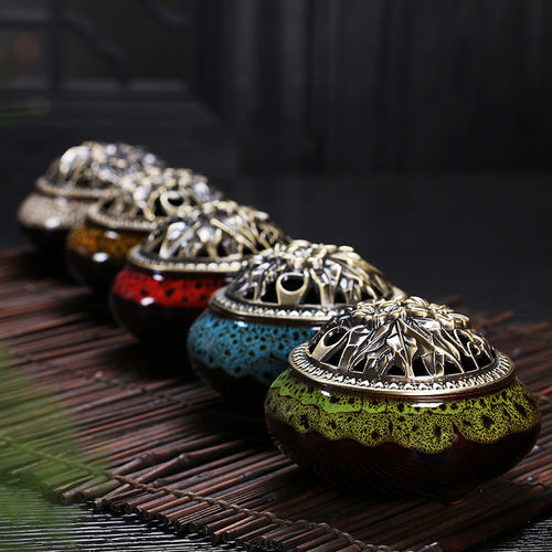 Ceramic & Antiqued Copper Incense Burner
