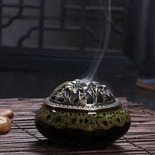 Load image into Gallery viewer, Ceramic & Antiqued Copper Incense Burner