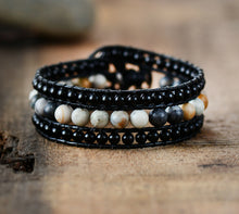 Load image into Gallery viewer, Onyx & Jasper Wrap Bracelet