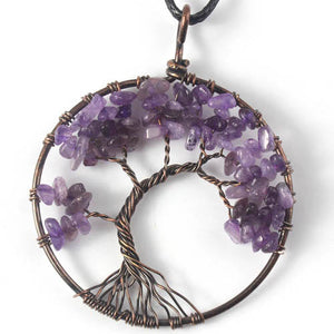 Tree Of Life Crystal & Copper Pendant Necklace