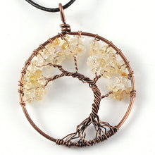 Load image into Gallery viewer, Tree Of Life Crystal & Copper Pendant Necklace