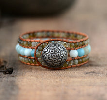 Load image into Gallery viewer, Labradorite & Amazonite Wrap Bracelet