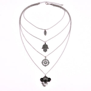 Elephant & Hamsa Layered Necklace