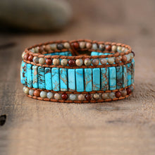 Load image into Gallery viewer, Turquoise &  Jasper Wrap Bracelet