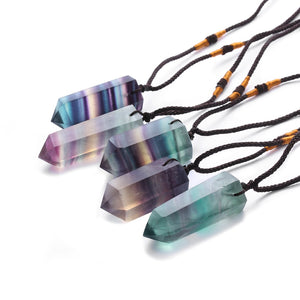 Fluorite Crystal Point Necklace
