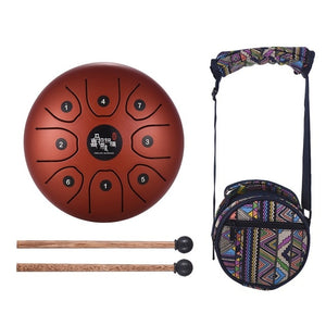 "Steel Handpan Hang Drum- 5.5"" with Bag & Mallets"