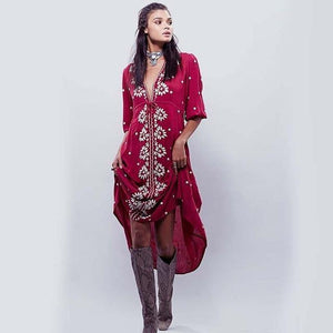 Boho Embroidered Dress
