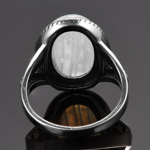 Large Oval Moonstone Silver Ring