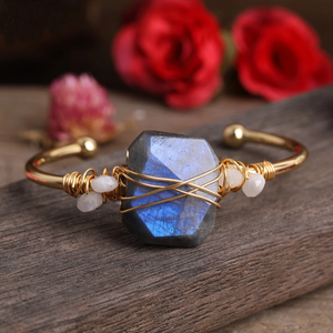 Labradorite Copper Wrapped Bangle Bracelet