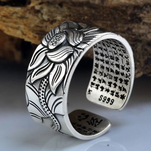 Blooming Lotus Heart Sutra Ring