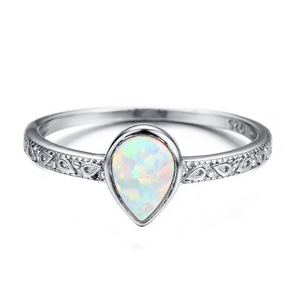 Rain Drop Fire Opal Ring