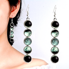 Load image into Gallery viewer, Glow In The Dark Moon Phase Earrings
