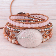 Load image into Gallery viewer, Rose Quartz Tree of Life Wrap Bracelet