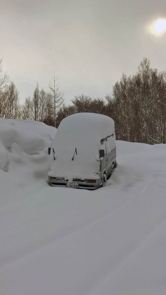 A Japanese van in the snow