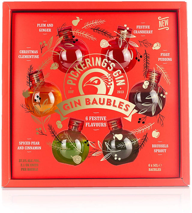 Pickering's Festive Flavours Gin Baubles - 6 x 50ml