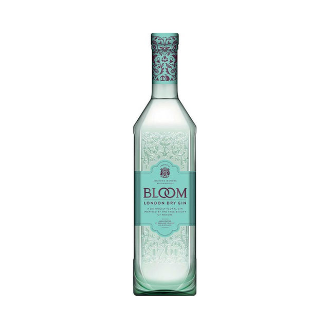 Bloom London Dry Gin 700ml 40% ABV coloured bottle with embossing