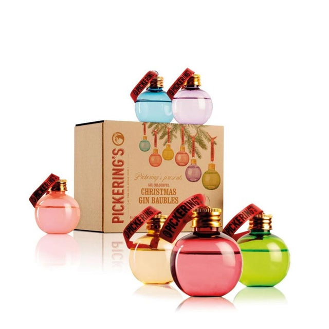 Pickering's Gin Baubles 6 x 50ml pack with baubles of pink, blue, purple, yellow, red and green colours with a rose gold screw lid hung from a silk red ribbon.