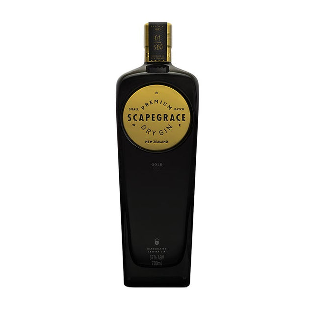 Scapegrace Gold Gin 700ml 57% ABV in black glass bottle with round gold plate