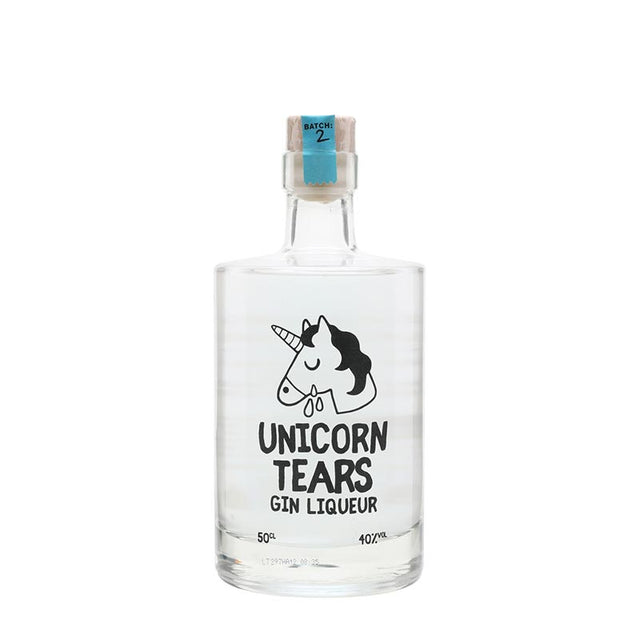Unicorn Tears Gin Liqueur in a clear 500ml bottle with a picture of a unicorn