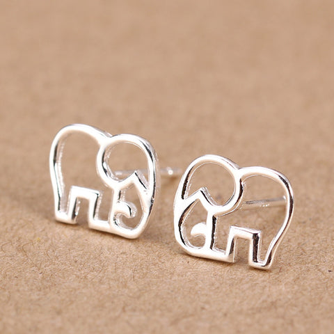 Image of Sterling Silver Elephant Stud Earrings