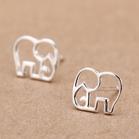 Sterling Silver Elephant Stud Earrings