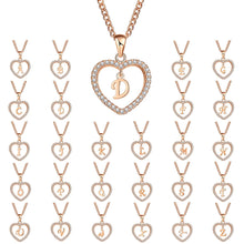 Load image into Gallery viewer, Austrian Crystal Heart Initial Necklace - Apple & Thorne