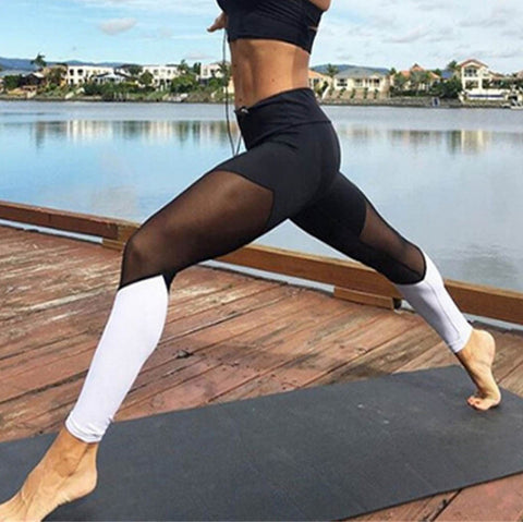 Image of Mesh Colorblock Yoga Pants