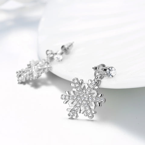 Image of Silver and Crystal Snowflake Earrings