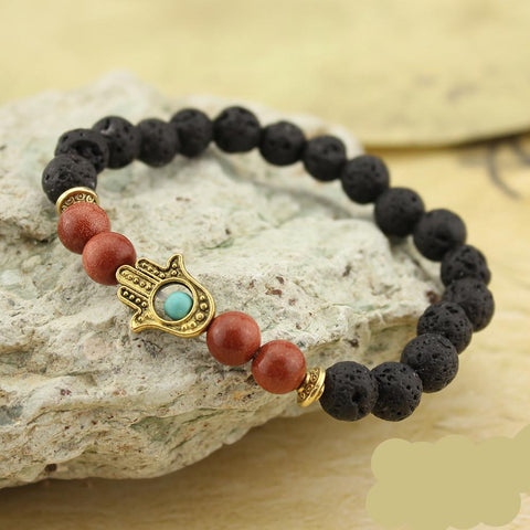 Image of Lava Stone Beaded Hamsa Bracelet