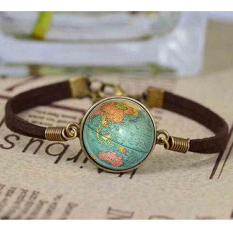 Image of Vintage Map Leather Bracelet