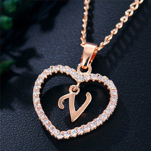 Austrian Crystal Heart Initial Necklace - Apple & Thorne