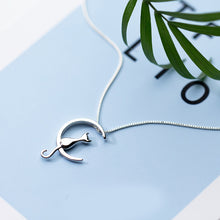 Load image into Gallery viewer, Cat In The Moon Necklace - Apple & Thorne