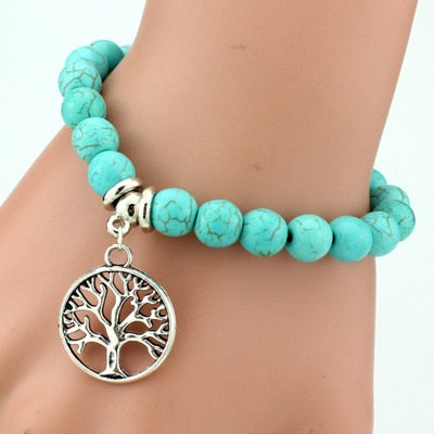 Image of Turquoise Beaded Charm Bracelet