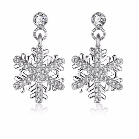 Silver and Crystal Snowflake Earrings