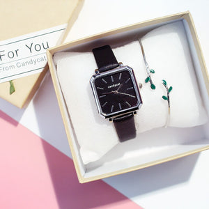"""London"" Square-Faced Watch & Bracelet Set"