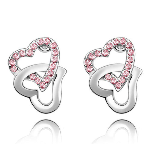 Image of Double Heart Earrings with Austrian Crystal