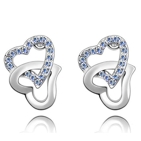 Double Heart Earrings with Austrian Crystal