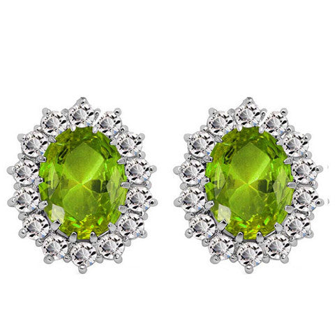 Oval Halo Crystal Earrings