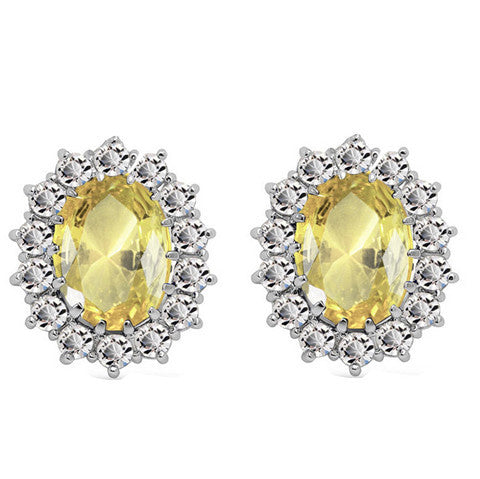 Image of Oval Halo Crystal Earrings