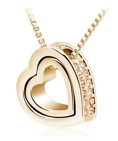Image of Floating Heart Necklace with Austrian Crystal