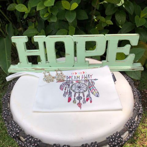 Hope sign and dreamcatcher pouch