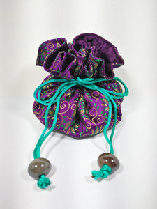 Satin lined Jewellery Pouches -  Purple and Green lined with Purple