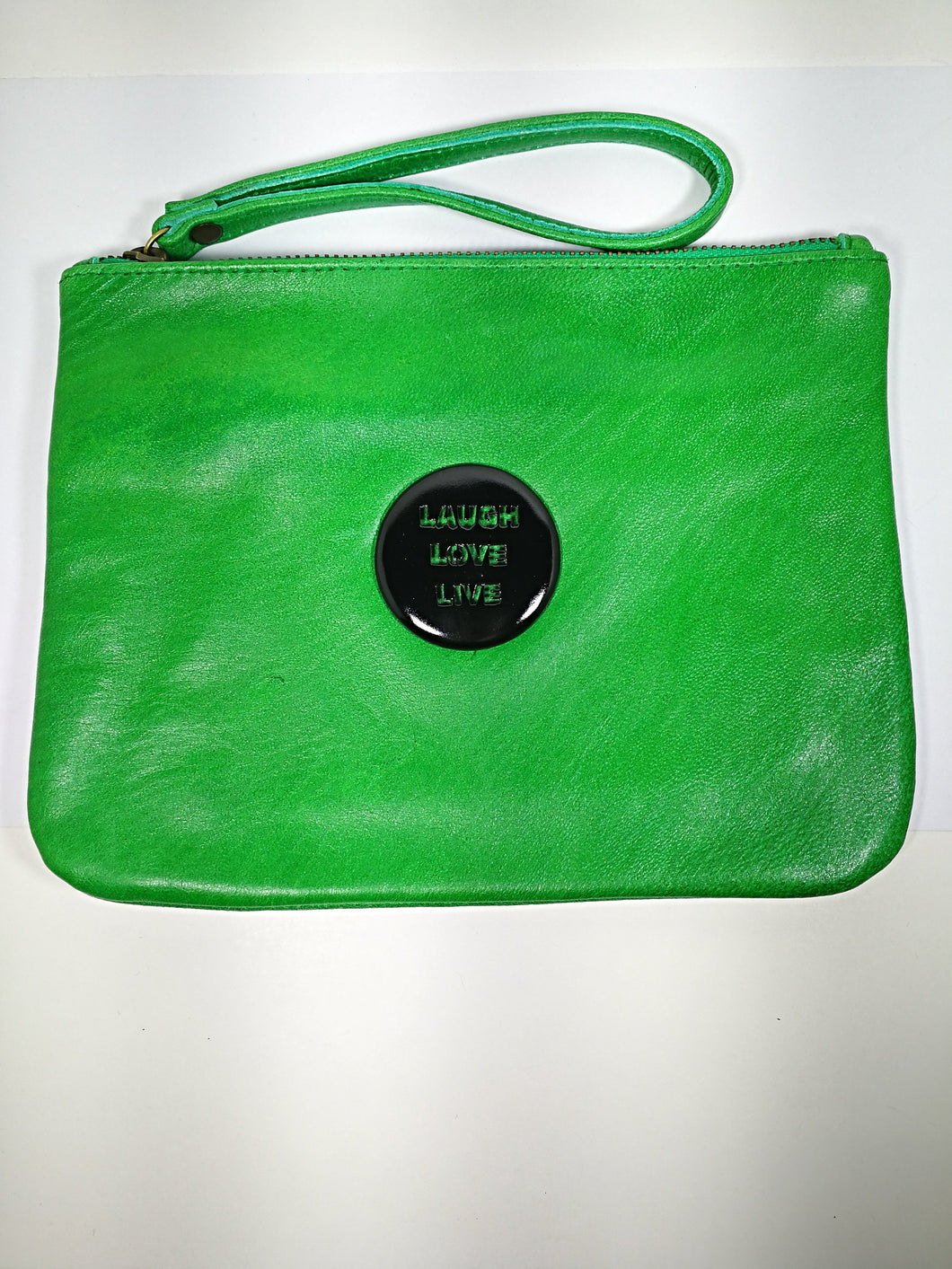 Green Leather Love Laugh Live Bags