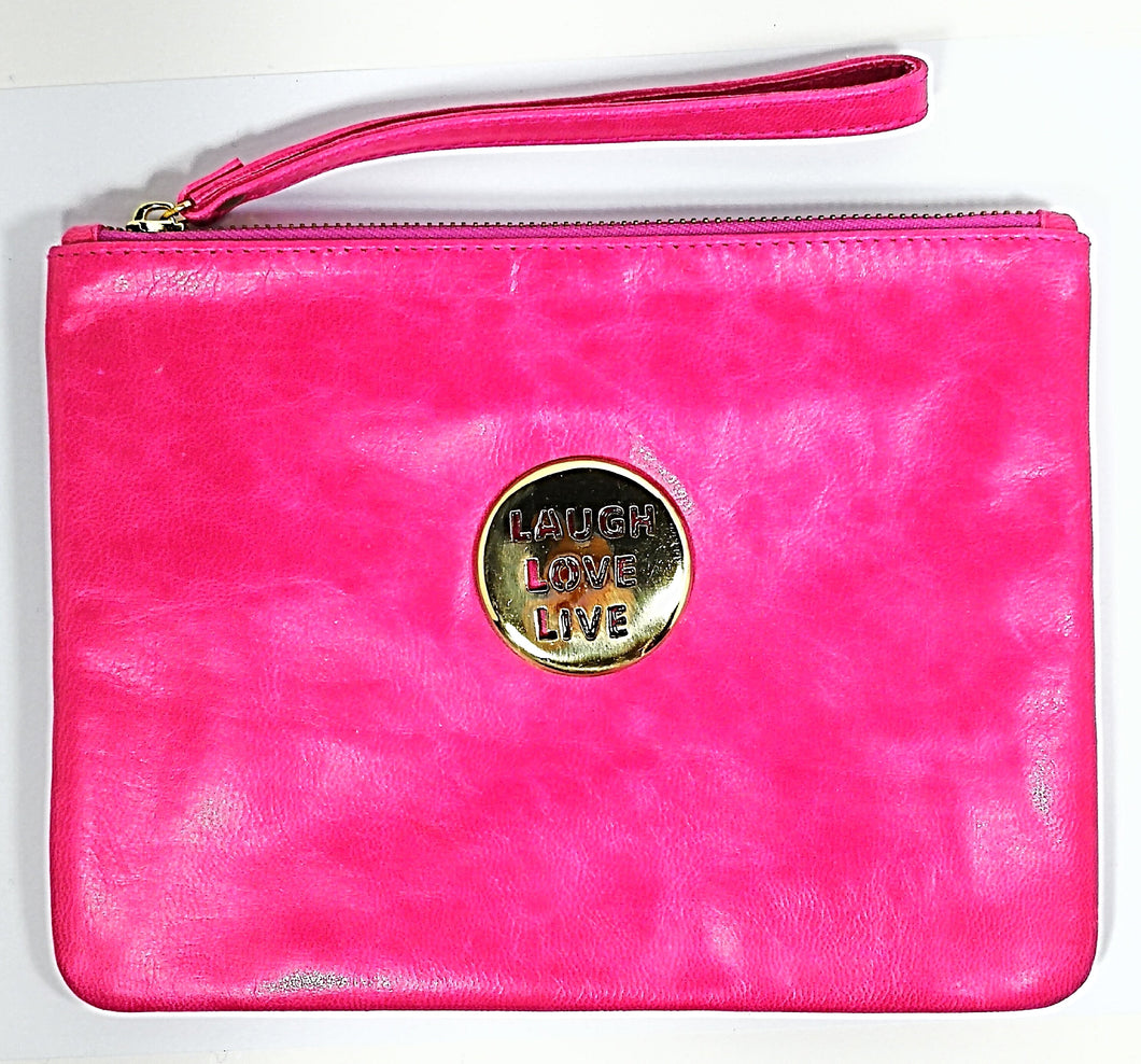 Pink Leather Love Laugh Live Bags